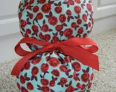 Turn Up Ponytail Scrub Hat in Red Roses on Light Blue