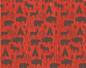 High Adventure fabric, Tribal Fabric, Boho fabric, Adventure Party, Lumberjack Chic, Farmhouse decor, Main in Red, Choose the cut
