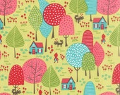 Red Riding Hood Fabric, House fabric, Woodland Fabric, Novelty fabric, Kids fabric, To Grandmothers House in Green, Choose the Cut