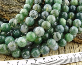 10mm Moss Agate, Moss Agate Beads, 10mm Round Beads, Green Beads, Natural Agate, Green Agate Beads, 10mm Agate, Gemstones, 10 mm Beads