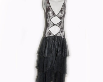 Vintage Black Lace Three Tier Flamenco Style Nightgown