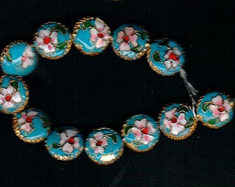 12pcs 14mm Round Coin Shape Turquoise Blue Gold Cloisonne Beads Pink Green White Enameled Flowers