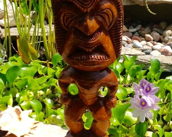 SALE-FREE SHIPPING-Vintage Large Hand Carved Wooden Tiki Statue-Hawaii Souvenir-Tropical-Beach House Decor-Tiki Bar Decor-Tribal-Ethnic