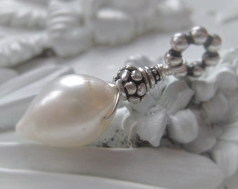 Freshwater Pearl Pendant White Bullet Pearl Pendant Bridal Pearl Pendant Sterling Silver Pearl Wedding Jewelry Pendant Item No. 8893