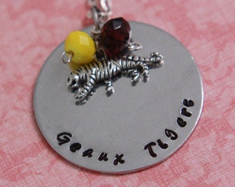 Hand Stamped LSU Geaux Tigers Necklace
