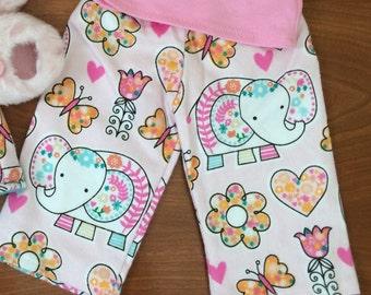 Doll Pink Elephant PJ pants, flannel girl doll pants, Doll clothes 18 inch doll clothes, doll elephant pants, American doll pajama pants