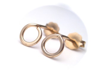 Small Gold Stud Earrings in Yellow Gold or Pink Gold