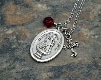 Infant of Prague Medal Necklace with Swarovski Crystal and Cross Charms, Charm Necklace, Saint Necklace, Catholic Jewelry, Religious Jewelry