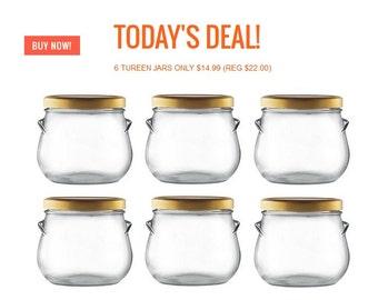 6 pcs 29 oz Glass Tureen Jars - FREE GROUND SHIPPING