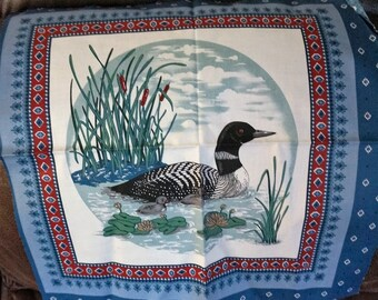 Loon & Chicks Waterfowl Pillow Fabric Panel