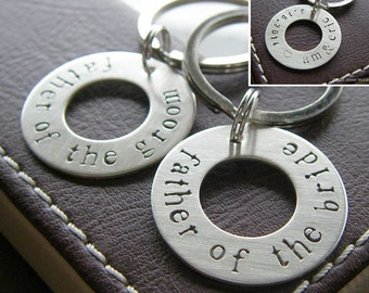 Personalized Washer Keychain Set for Father of the Bride and Father of the Groom - Hand Stamped Sterling Silver Key
