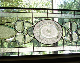 Large Clear Beveled Transom stained glass panel