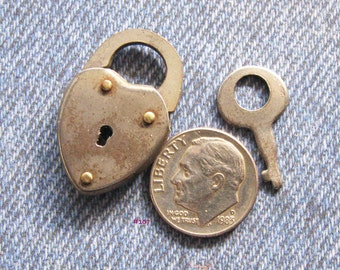 Silver Heart Padlock & Key Mini Antique Brass Rivet Lock Made in the USA Diy Repurpose Jewelry Hardware