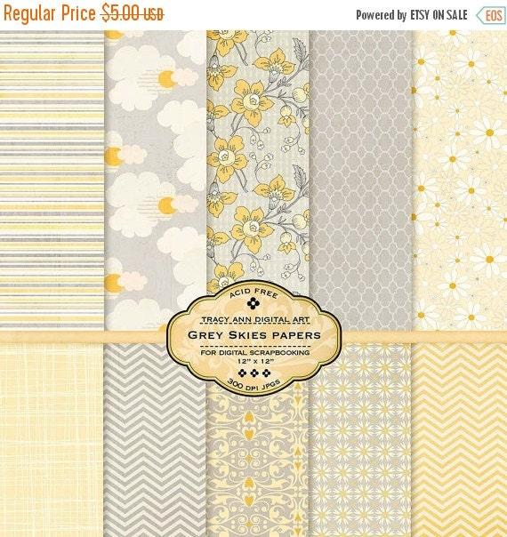 Yellow and Grey Skies Digital Papers Scrapbook Printable Lemon and Gray Floral