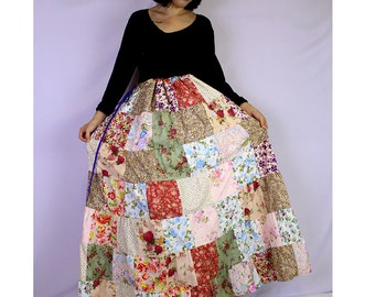 BoHo Hippie Unique Drawstring Long Floral Cotton Patchwork Plus Size (PW03)
