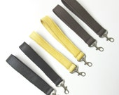 Leather Swivel Latch Hook Wrist Strap Add To Zippered Pouches Organizers For Wristlets Brown Yellow or Black