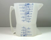 Westland Double Sided Wet Dry Measuring Cup Sheer Plastic Blue Lettering 1960's