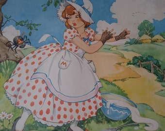 Vintage Little Miss Muffet Nursery Rhyme Children's Room Art Print 17 x 21  1950's Original Mid Century