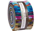 "Robert Kaufman ELEMENTALS BATIKS Roll Up 2.5"" Precut Fabric Quilting Cotton Strips Jelly Roll Lunn Studios RU-508-40"