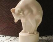 Art Deco White Cat 3in. High