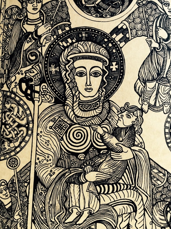 Madonna Virgin Mary Jesus Print from Original Drawing. Pen and Ink from Book of Kells