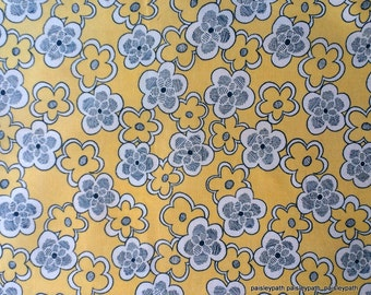 Curtain Vintage Cotton Fabric Yellow Navy and White Floral Print 1960's