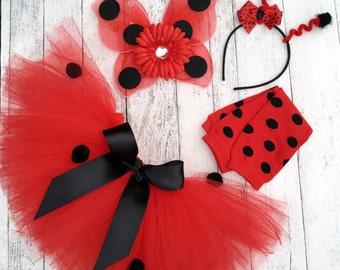 Ladybug Costume - Ladybug Tutu - Baby Girl Halloween Costume - Ladybug Wings - Girl Ladybug Tutu and Accessories