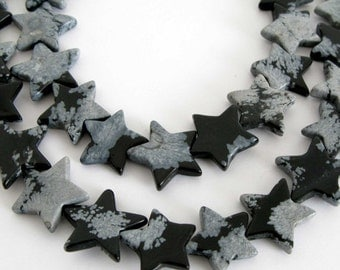 20% OFF - Snowflake Obsidian Beads, Full 15 Inch Strand, 12mm Star Beads, Snowflake Obsidian Star Beads, Black and White Beads, Obs200