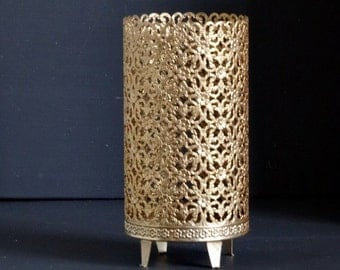 Gold Filigree Candle Holder, Metal Candle Stand