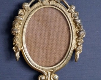 Small Brass Picture Frame Oval Frame with Roses Made in Italy