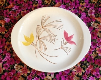 Stetson Serving Platter HTF Pink Yellow Tulips USA 1958 Handle Plate Floral Flowers Oval Ovenproof