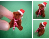 Tiny Flocked Christmas Teddy Bear, 1-1/2 Inch Miniature Brown Bear with Santa Hat and Striped Scarf for Christmas Crafts and Decorations