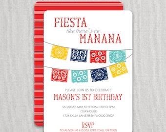 Cinco De Mayo - Papal Picado - Fiesta Party - Birthday Invitation