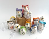 Miniature Ceramic Owls, Three Surprise Owls, Gift Box of Owls