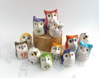 Miniature Ceramic Owls, Three Surprise Owls, Gift Box of Owls