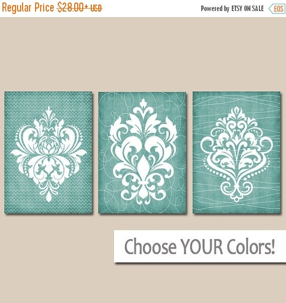 Light Blue Bathroom Wall Art Canvas Or Prints Blue Bedroom: DAMASK Bathroom Wall Art Canvas Or Prints Aqua By TRMdesign