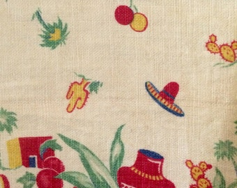 Vintage 30's Mexicali Print Linen Table  Runner Cloth