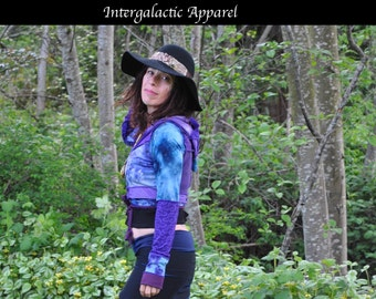 SALE Patchwork Wrap JacKet, Festival Clothes, Hand dyed Hippie Coat, Intergalactic Apparel, Pixie, Gypsy Clothes, Hula Hoop Clothes