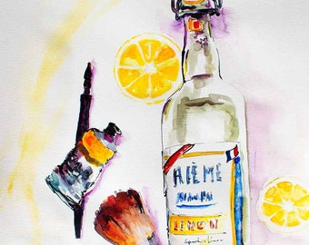 Watercolor and Ink Original painting Lemonade Bottle from France Still Life
