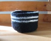 Felted Black Bowl with Natural-White Stripe - In Stock - Ready to Ship