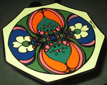 Vintage MOD 60s Pop Art Peter Max Colorful Octagon Glass Dish Bowl
