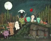 Monster Parade Print Monster Art Cute Nursery Childrens Dream Print LARGE PRINT 11 x 14