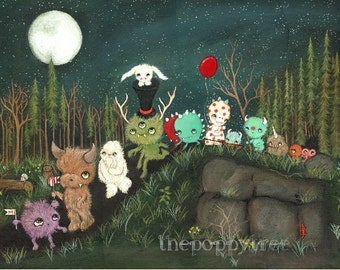 Monster Parade Painting Original Art Nursery Childrens Dream Print ---18 x 24