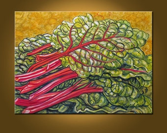 Spring Chard -- 18 x 24 inch Original Oil Painting by Elizabeth Graf on Etsy, Art Painting Art & Collectibles
