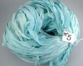 Sari silk ribbon, Silk Chiffon sari ribbon, Recycled Silk Sari Ribbon, Aquamarine ribbon, aqua sari ribbon