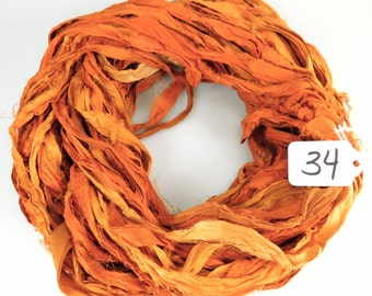 Recycled Silk Sari Ribbon, Sari silk ribbon, Orange sari ribbon,  Orange Fall ribbon, weaving supply, jewelry supply