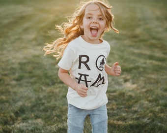 Camping Birthday Gift for Her, Kids Hiking Shirt, Adventure Gift for Girls, Back to School Girls Clothes, ROAM Unisex Kids Shirt Girl or Boy