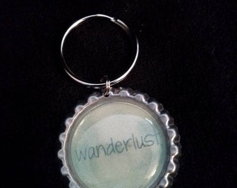 ONE 'Wanderlust' Bottle Cap Charm Keychain
