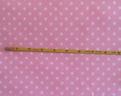 """NEW White dots on pink cotton lycra knit fabric 96/4 58"""" wide."""