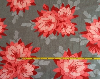 NEW Riley Blake Desert Bloom Red floral on gray cotton Lycra  knit fabric 1 yard